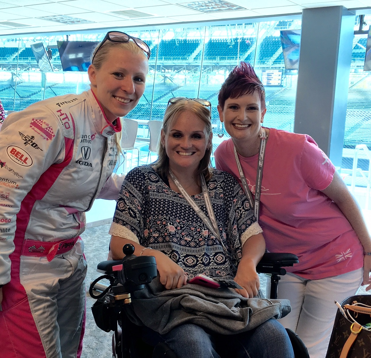 Pippa Mann with Jessica and Nicole